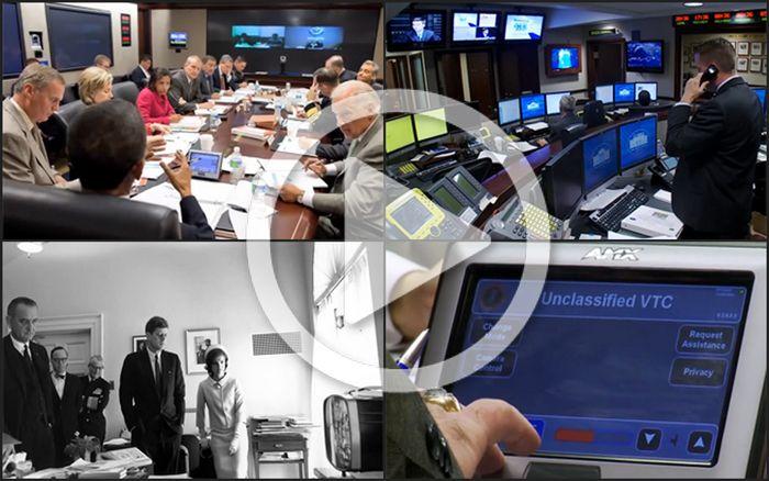 Este breve reportaje muestra cómo la tecnología ha cambiado a lo largo de los años en la Sala de Situación de la Casa Blanca y puedes ver cómo el Presidente de los EEUU y su personal utilizan los Touch Panels AMX Modero.